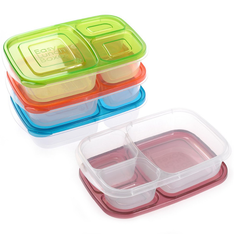 3 Compartment Plastic Food Containers Bento Lunch Box Eco Friendly Easy Microwavable Launch In Dinnerware Sets From Home Garden On