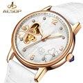 Женские часы с бриллиантовым дисплеем AESOP 2018  роскошные белые простые прозрачные автоматические механические часы с каркасом