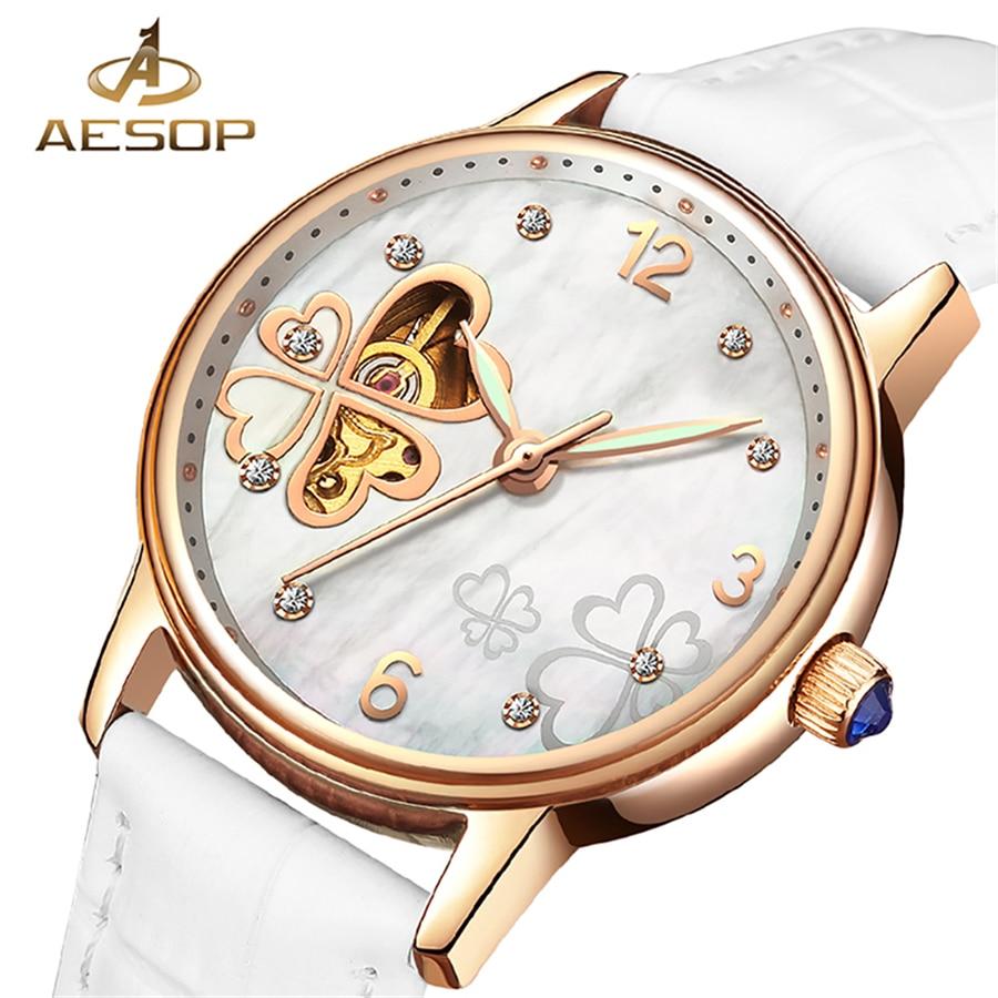 AESOP 2018 Ladies Diamond Display Women Top Brand Luxury White Simple Skeleton Transparent Case Automatic Mechanical Watches thumbnail
