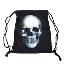 1Pcs Women 3D Printed Head skull Drawstring Shopping Bag Travel Bag  Backpacks Black Vintage mochila softback girls school bags