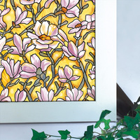 Yellow Magnolia Flower Pattern Electrostatic Film To The Glass Bathroom Glass Sticker Kitchen Opaque Window And