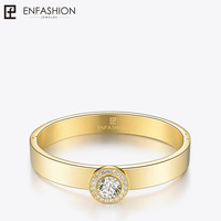 Enfashion Play Series Dazzling Crystal Cuff Bracelet Bangle Gold color Screw Bangles Bracelets For Women DIY Jewelry 70058005
