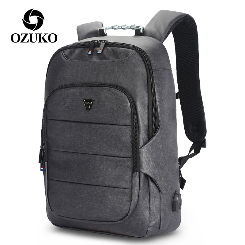 все цены на OZUKO Anti Theft USB Backpack Men Laptop Backpack High Capacity Waterproof Multifunction Travel School Bags mochila hombre в интернете
