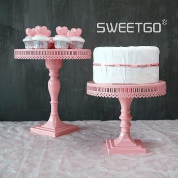 Pink Colour A Snack Disc Arts Cake Disc WROUGHT IRON Cake Wedding Wedding Prop Wedding Dessert Platform High Foot A Snack Frame