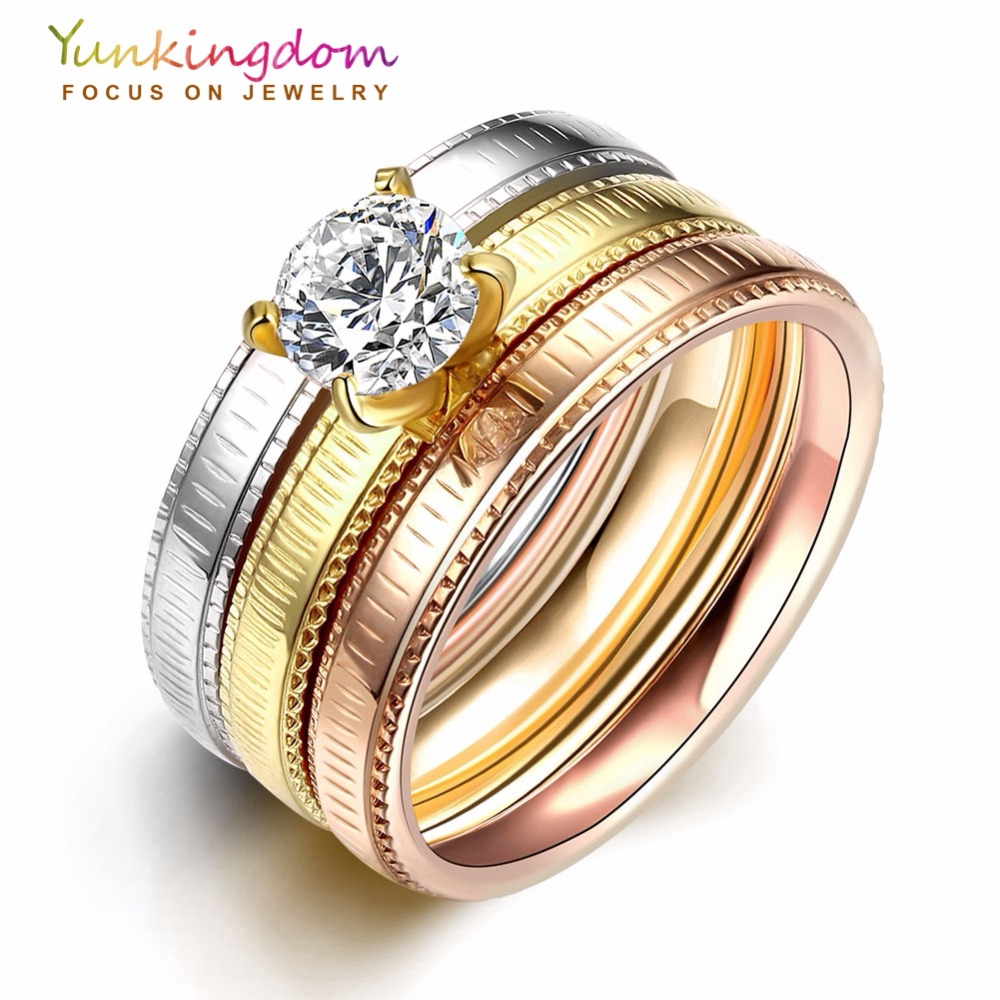 Yunkingdom Luxury Brand Titanium Steel & Stainless Steel Rings For Women  Men Classic Costume Jewelry Wedding Finger Ring Anillos