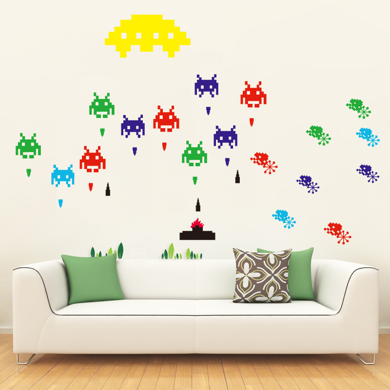 Nice Sticker Space Invaders Stickers Wall Decals Mural Video Game Space  Invaders Self Adhensivespace RemovableFL391001 In Wall Stickers From Home U0026  Garden ... Part 55