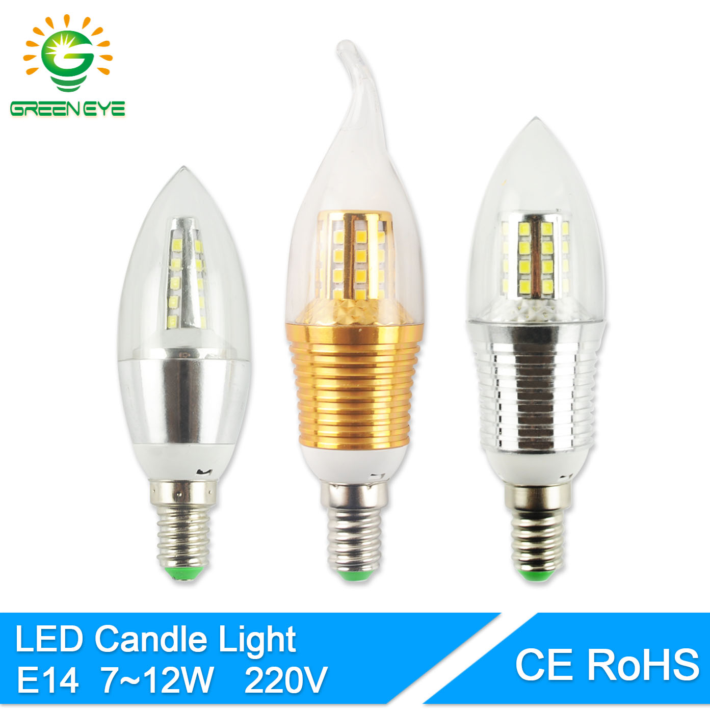 GreenEye LED Bulb E14 220V Golden Silver Aluminum Candle Lamp Light 7W 9W 12W For Crystal Chandelier Antique Lampara Ampoule купить