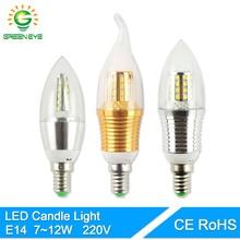 Greeneye Светодиодная лампа E14 220 В золотого, серебряного цвета Алюминий свеча свет лампы 7 Вт 9 Вт 12 Вт Для Хрустальная люстра античная Lampara ампулы
