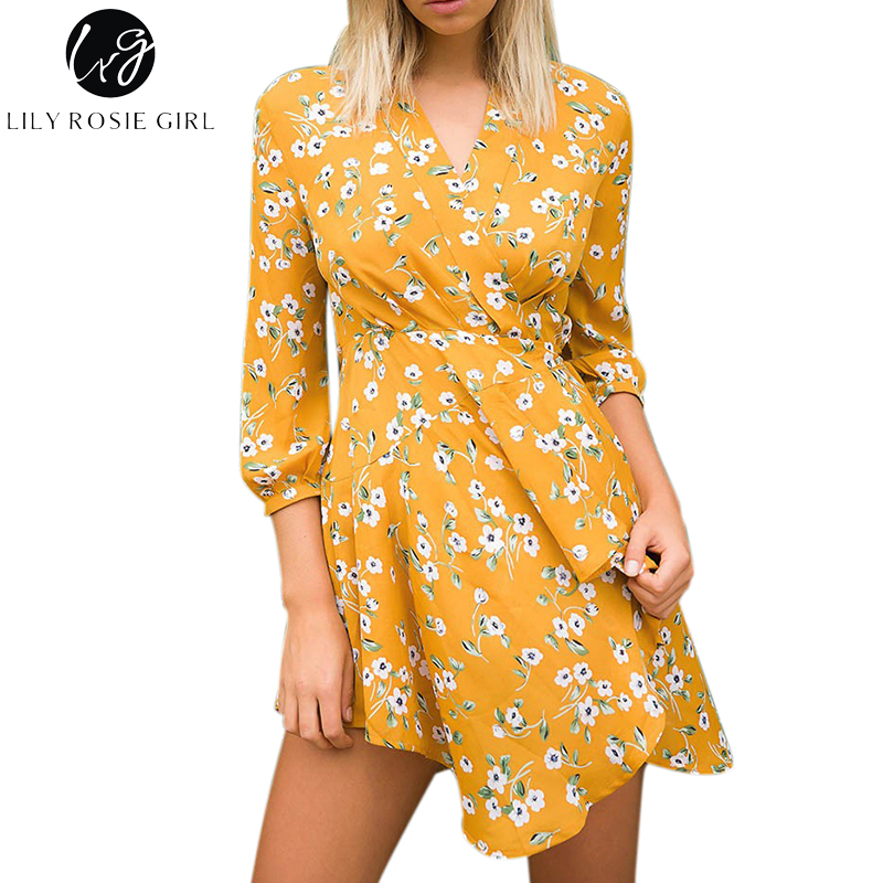 Lily Rosie Girl Deep V Neck Sexy Boho Floral Print Mini Dress Women Autumn Winter Loose Warp Asymmetrical Short Dresses Vestidos