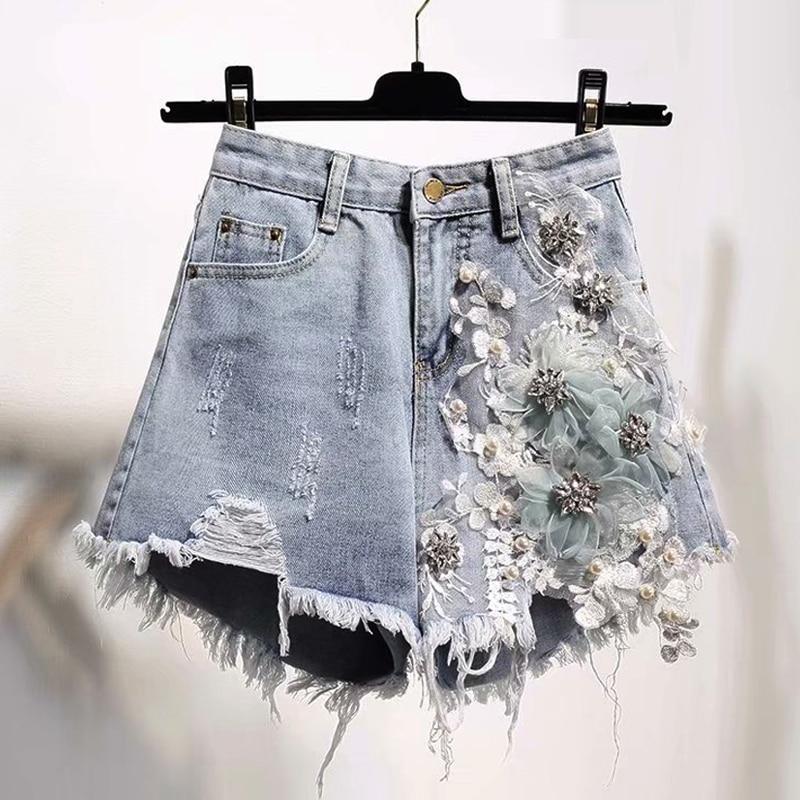 Summer Fashion Womens High Waist Ripped Hole Tassel Pearls Beading Denim Shorts , Woman 5xl Rhinestone Flower Jeans Hot Shorts