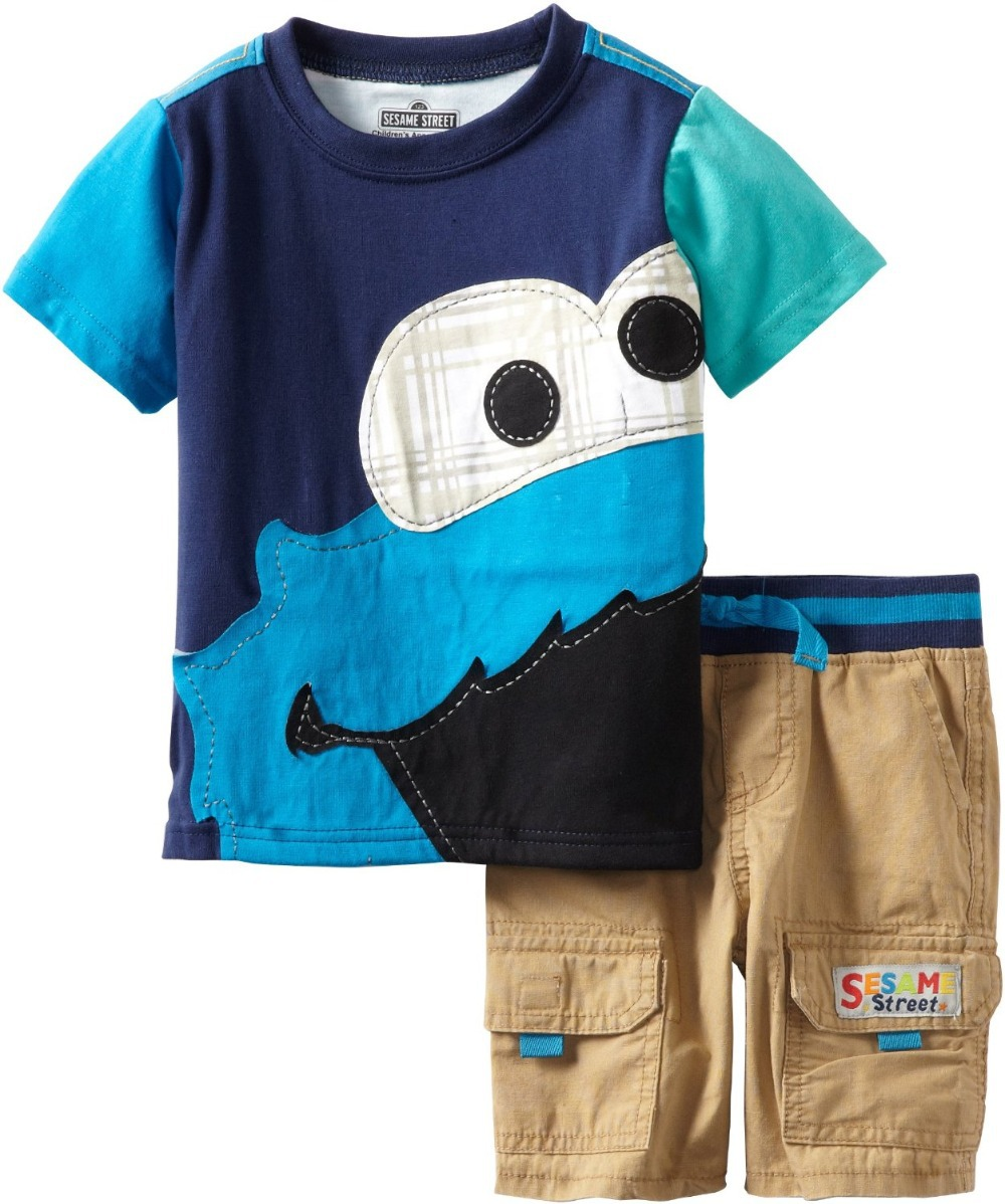 06fbcd8e Retail & Wholesale New Fashion 2014 summer SESAME STREET ELMO Baby Boys  Short sleeve Tee T shirt Shorts Clothing Sets Sport Suit
