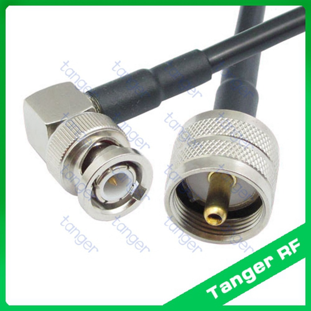 все цены на Hot Selling BNC male plug right angle to UHF male plug PL259 straight RF RG58 Pigtail Jumper Coaxial Cable 40inch 100cm New