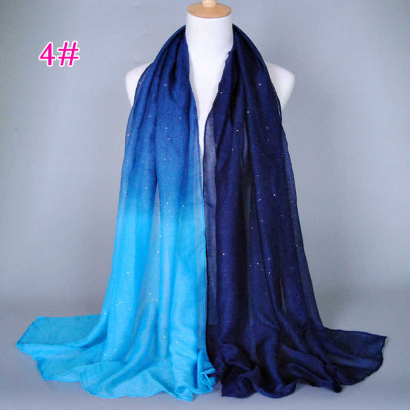 18 colores musulmán Hijab mujer Hijab Ninja cabeza cubierta islámica sombrero bufanda 180 cm largo cambio Gradual