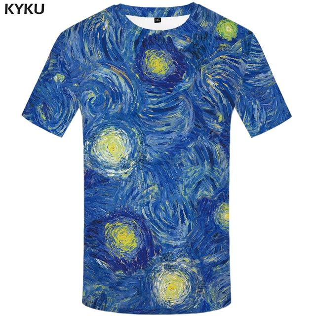 2c546dcbef KYKU Marca Van Gogh Estrelas da camisa de T T-shirts azul Tshirt shirt da