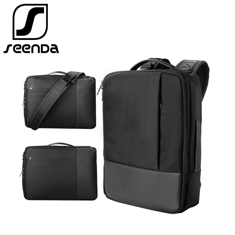 SeenDa Waterproof Laptop Bag for Macbook Air Pro Dell <font><b>HP</b></font> Notebook Backpack for Men Black <font><b>Handbag</b></font> Shoulder Bag for 13.3-15.6 inch