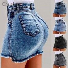 Chrleisure, женские летние джинсовые юбки, новинка, высокая талия, Облегающая джинсовая юбка, женские короткие юбки с карманами, 4 вида цветов