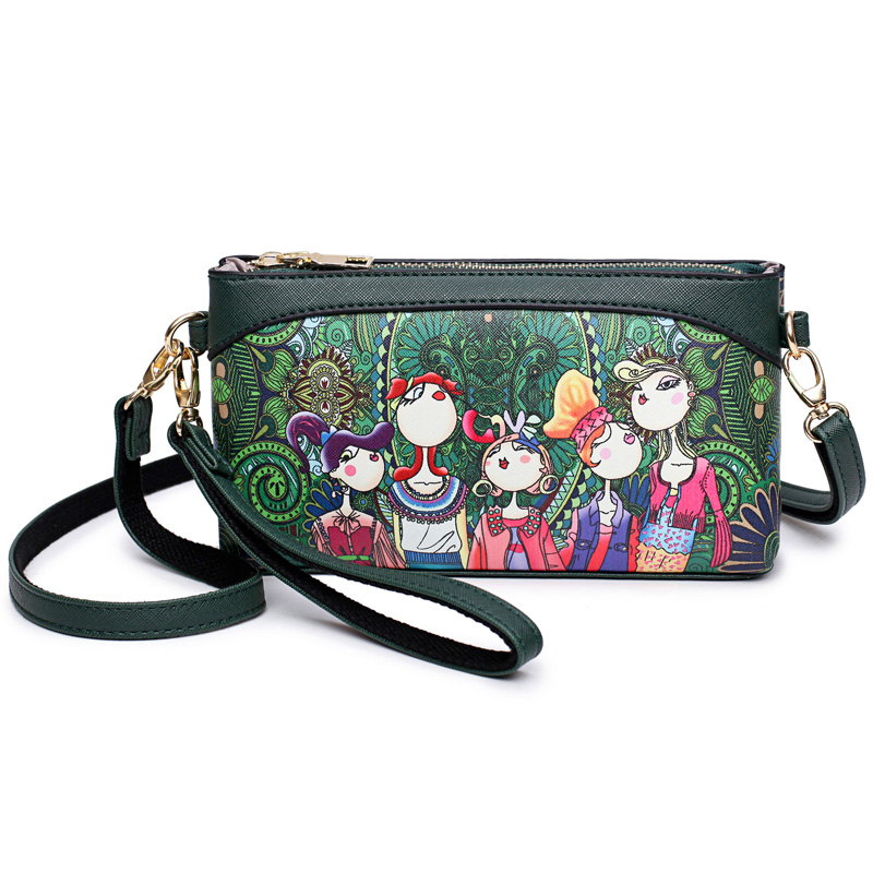 Summer New Green Cartoon Printing Pu Leather Women Messenger Bags Fashion Clutch Shoulder Bags Day Clutches Small CrossBody Ba