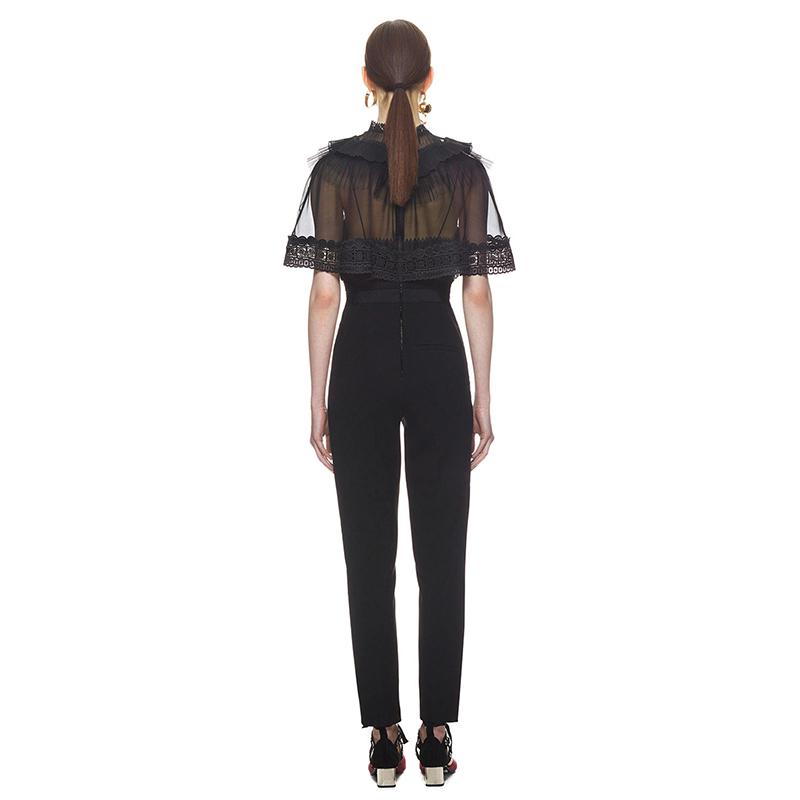 3b2e26ed81e1 2018 Self Portrait New Trimmed Overlay Jumpsuit Hollow Out with Lace Trim  Overalls Jumpsuit Romper Cape Combine Pants-in Jumpsuits from Women s  Clothing on ...