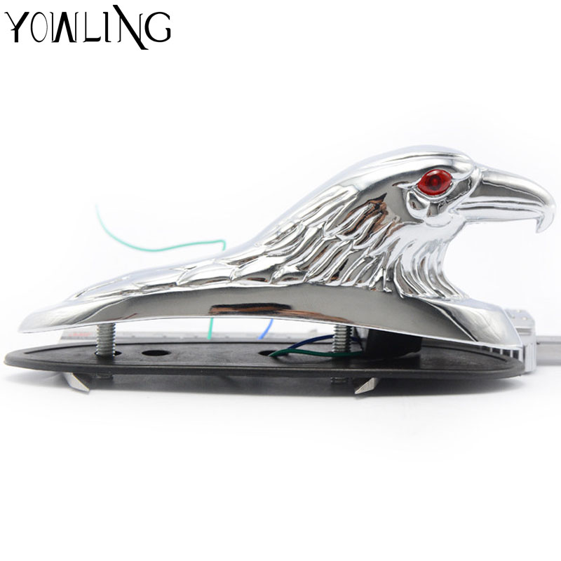 silver & Gold Motorcycle Eagle Head Fender Ornament with Red Lighted Eye Motorbike ATV Bike  Aluminum Front Mudguard Decoration pasotti зонт трость pasotti eagle gold oxford blu