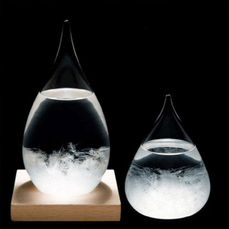 Weather Forecast Crystal Bottle Drops Water Shape Transparant Storm Forecast Predictor Monitor Glass Home Decor Office Art