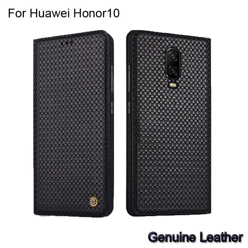 Étui pour huawei Honor 10 de luxe en cuir véritable tissé motif etui téléphone huawei Honor10 couverture arrière complète de protection