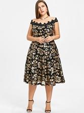 Plus Size Off Shoulder Short Sleeves Floral Sequins Dresses Big Size 5XL