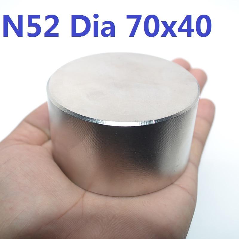 1 pc N52 Dia 70mm x 40mm aimant Super strong Néodyme ronde aimant plus forte permanent puissant magnétique