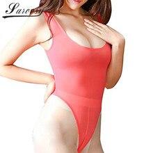Sheer Open Crotch High Cut Bodysuit Leotard One Piece Sleeveless Thong Lingerie