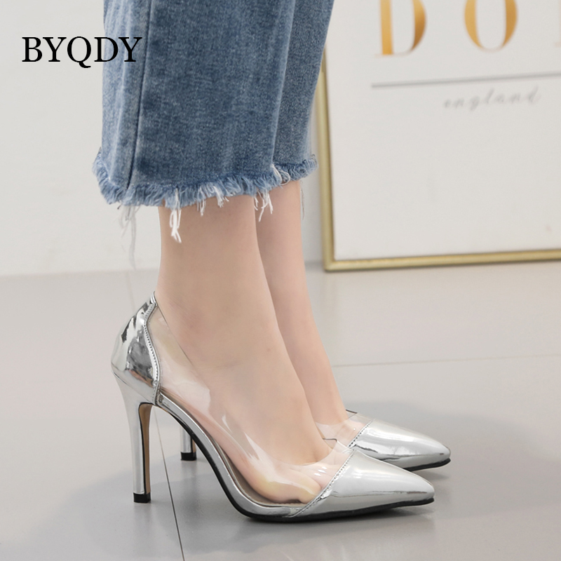 BYQDY Women Clear Transparent Pumps Silver Gold Pointed Toe High Heel Stilettos Sexy Wedding Bridesmaid Party Clubwear Shoes