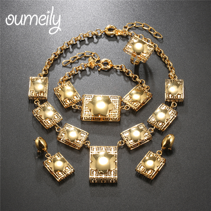 OUMEILY New Fashion African Costume Jewelry Set Dubai Bridal Turkish Nigerian Gold Color J