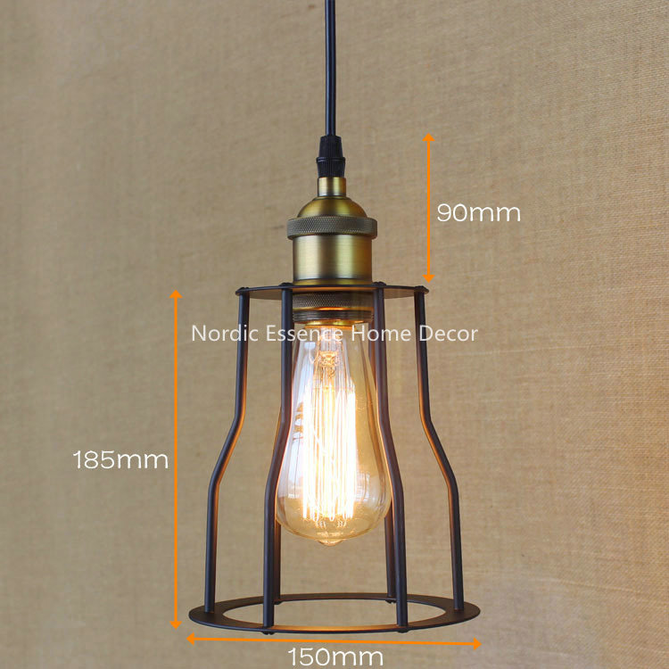 Nordic American country living room hotel cafe restaurant bar Single-head Iron corridor Edison light bulb pendant lamp lighting