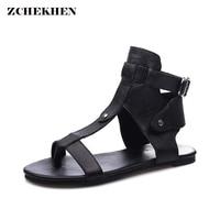 Women Summer Buckle Strap Sandals Genuine Leather Black Gladiator Flat Sandals 2018 New