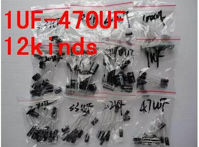 1 Juego de 120 Uds., 12 valores, 120 UF-0,22 UF, conjunto de kit de surtido de condensadores electrolíticos de aluminio, envío gratis, 470 Uds.