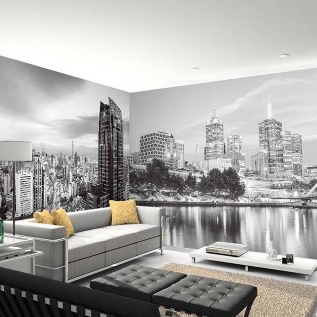 Black White 5d Papel Murals New York City Photo Mural Wallpaper For Bedroom Sofa Background