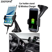 Phone Holder Stand Qi Wireless Charger Car Holder Wireless Charging For Samsung Note 5 8 S6