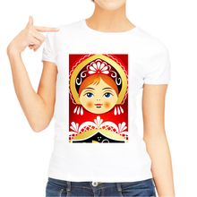 LISM 2019 Matryoshka Doll Print T-Shirt Summer Fashion Women Short Sleeve Casual