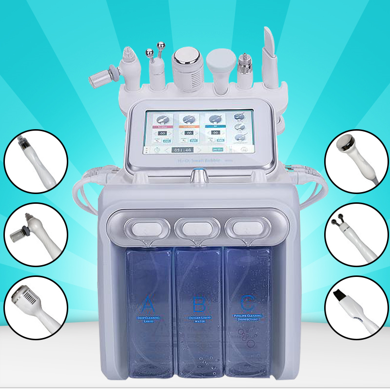 6in1 H2-O2 Hydra Dermabrasion RF Bio-lifting Spa Facial Hydro Facial Machine /water Dermabrasion Cold Hammer Oxygen Spray