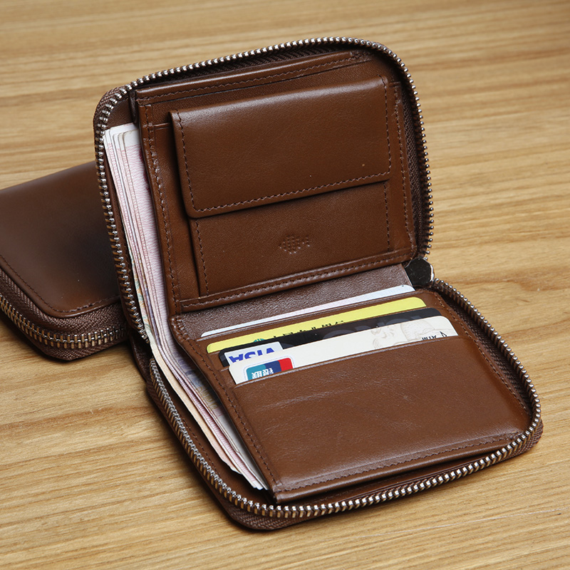 LANSPACE Men s leather zipper small wallet leather brand fashion mini wallet handmade wallet