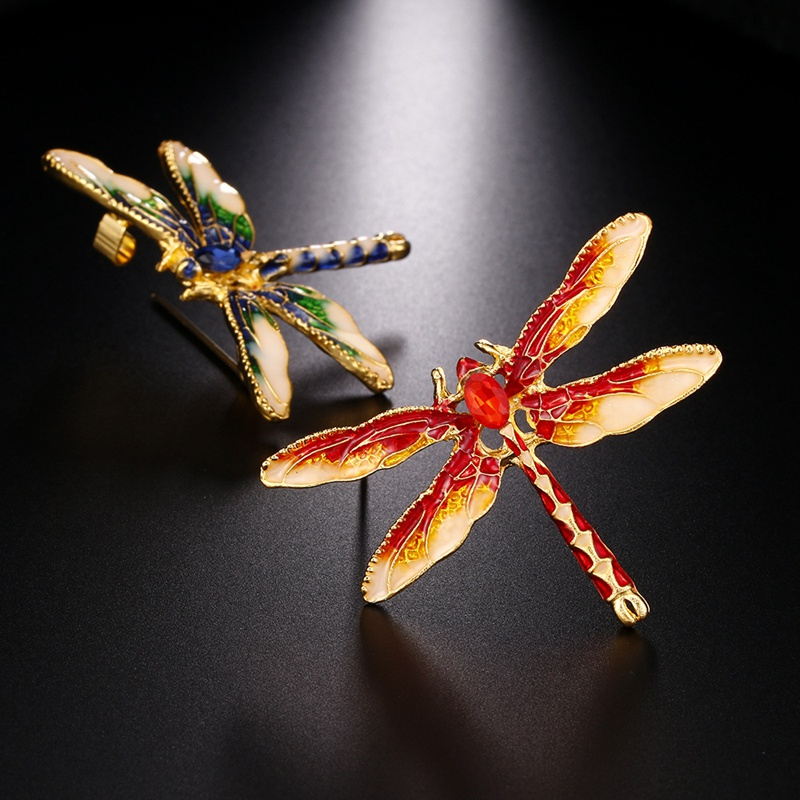 Vintage Colorful Drop Oil Cute Brooch Dragonfly Insect Art Style Bronze Brooch Sweater Coat Clothing Pin Accessories