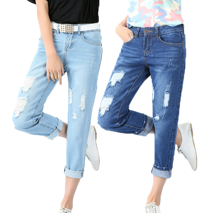9bb71201540482 LADIES BLUE DISTRESSED RIPPED LOOSE STRAIGHT WOMEN LADIES RIPPED CUT  BOYFRIEND JEANS BLUE STRETCH DENIM LOOSE FIT PANTS-in Jeans from Women s  Clothing on ...