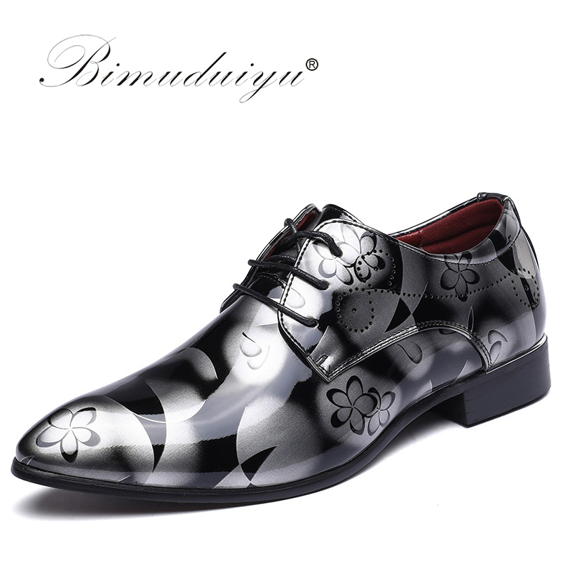 BIMUDUIYU Marca Dos Homens Apontou Sapatos Toe Sombra de Patente Sapatos de Couro Da Moda Sapatos de Casamento Do Noivo Sapatos Oxford 38-49