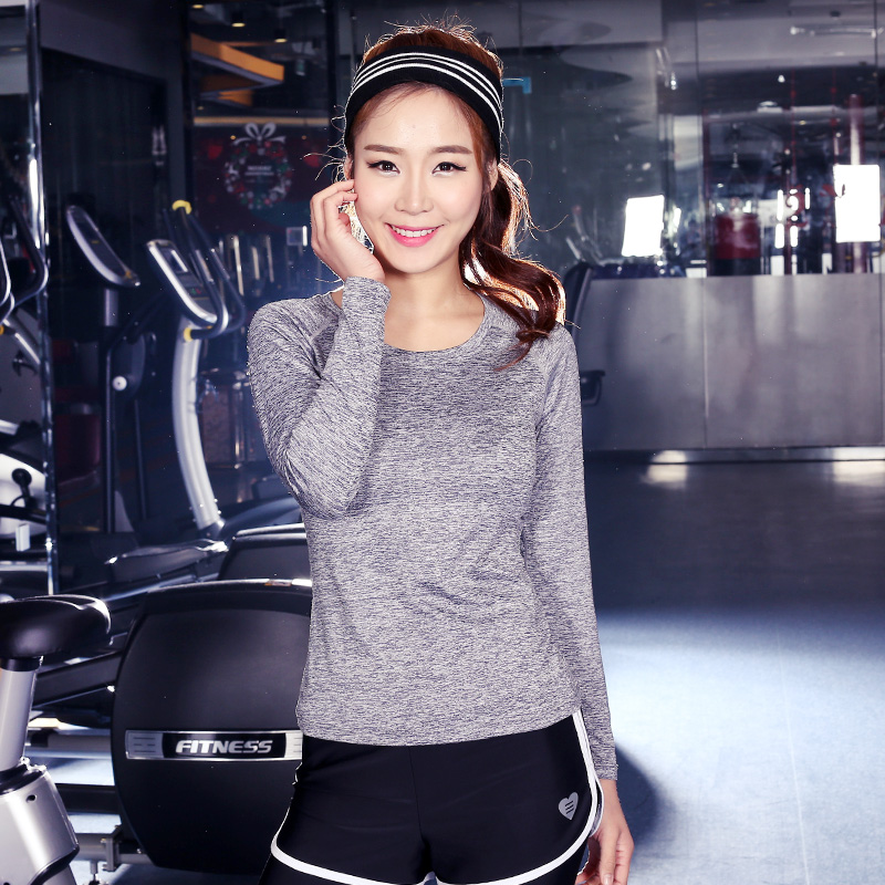 605f2bcf72f yoga women long sleeve clothes South Korea female gym Quick dry coat  Outdoor cycling jerseys S43