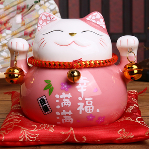 4.5 inch Maneki Neko Porcelain Lucky Cat Home Decor Ornaments Fortune Cat Money Box Fengshui Craft 6 Colors(China)