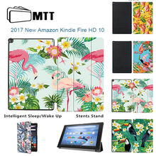 MTT Print Flamingo TriFold PU Cover For Amazon Kindle Fire HD 10 2017 Tablet Case with Alexa 10.1″ Stand Smart Case Funda Skin
