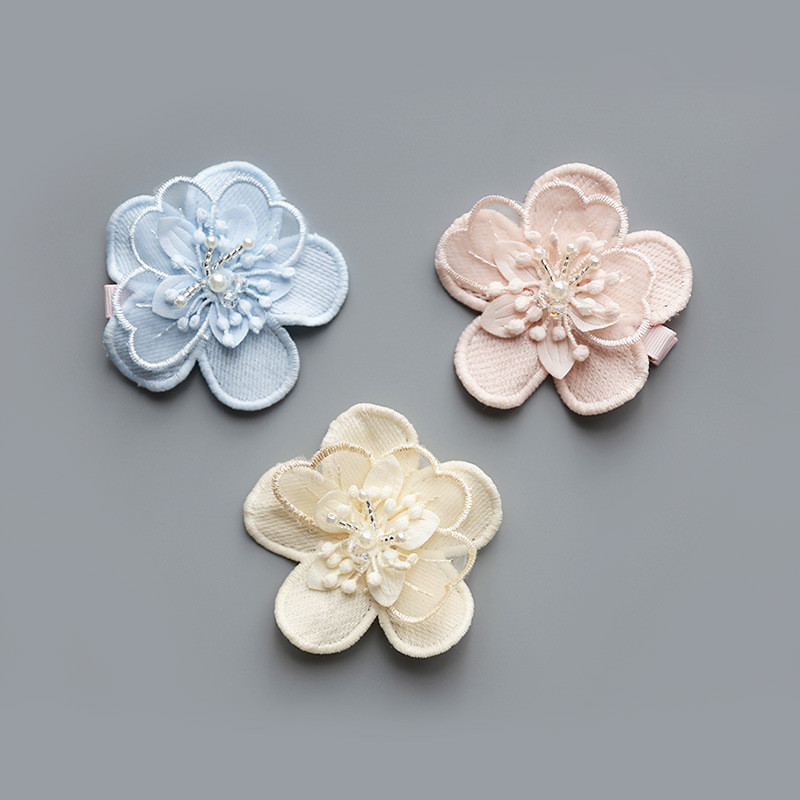 Boutique 30pcs 3C Fashion Cute Gauze Gemstone Flower Girls Hairpins Solid Kawaii Floral Girls Hair Clips