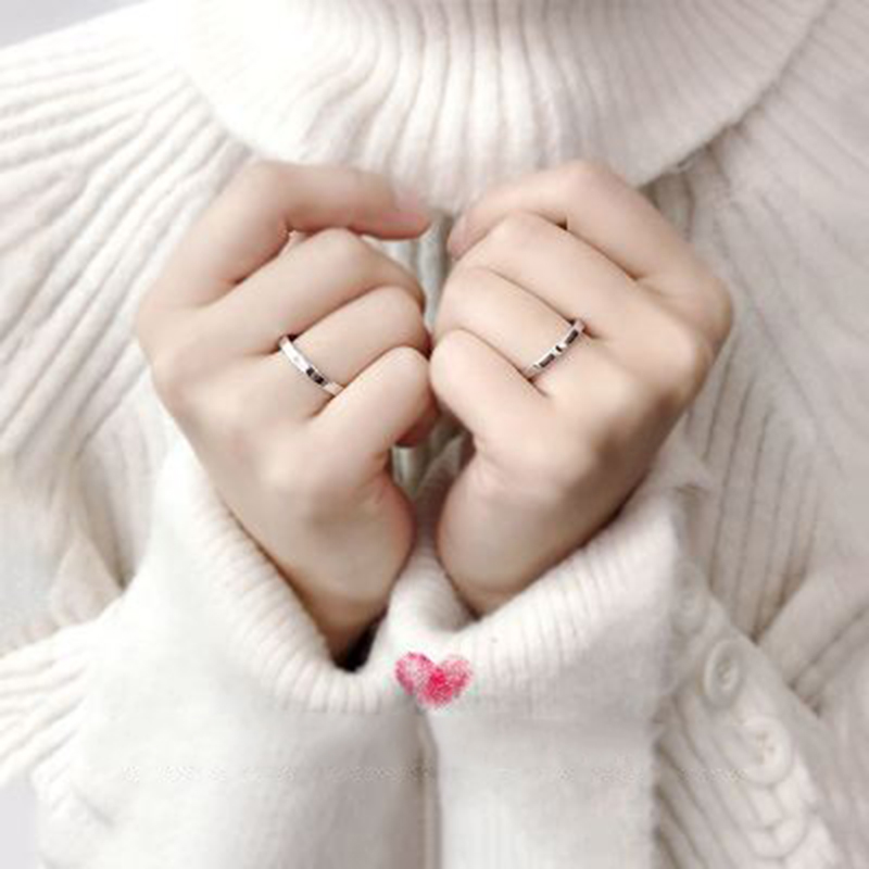 Qevila Fashion Silver color Ring Simple Style Moon Sun Love Adjustable Plate S925 Couple Rings For Girls Boy Best Friend Jewelry (10)