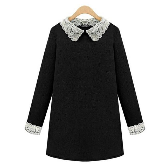 Gaun untuk Wanita 2018 Musim Semi Baru Ukuran Besar Wanita Boneka Kerah  Longgar Lengan Panjang Gaun 4471b99ade