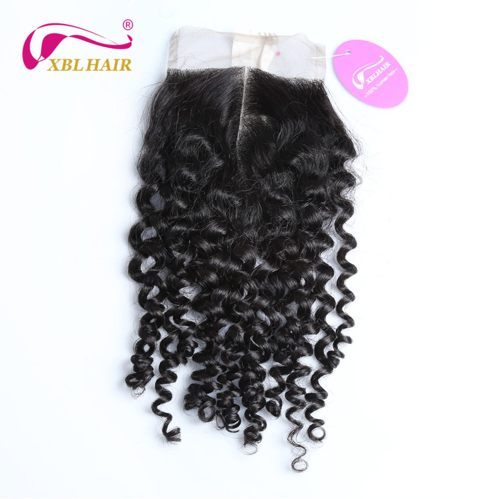 XBLHAIR Curly Lace Closure With Baby font b Hair b font Middle Part 130 Density Brazilian