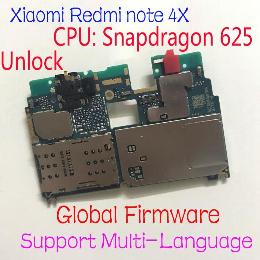 Micrologiciel mondial déverrouillage d'origine Xiaomi redmi note 4X note 4 Version mondiale Snapdragon 625 carte mère frais câble flexible