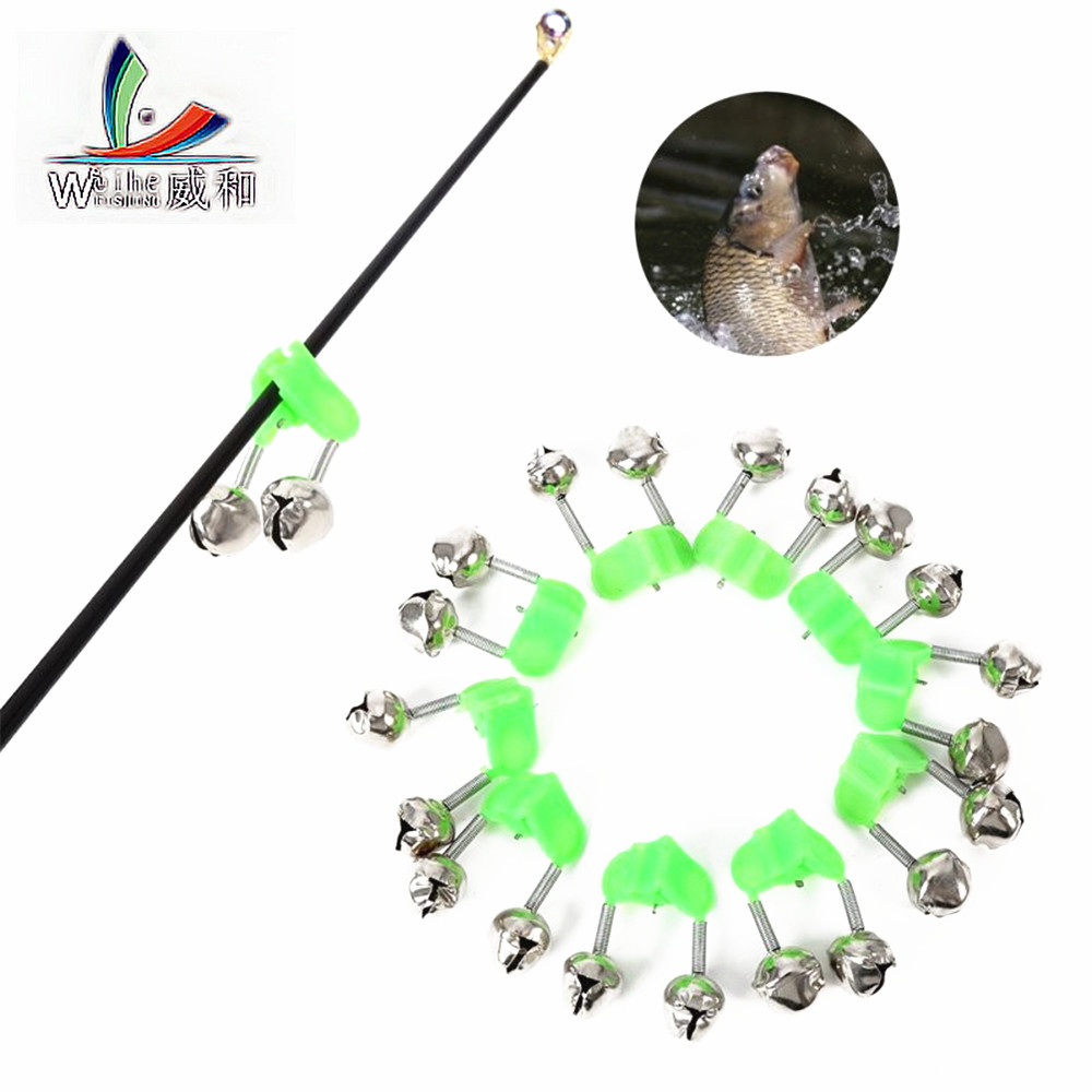 10  Pcs Fishing Float Rod Bells Bells Alarm Ring Fishing Bite Rod Clip Green Tip Clip ABS Fishing Stainless Steel Accessory